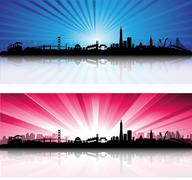 san francisco skyline with colorful sky - stock illustration