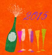 Stock Illustration of new year 2015 champagne