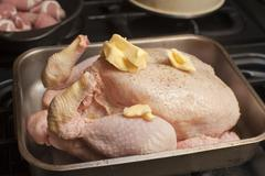 uncooked turkey in a roasting pan - stock photo