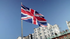 British Flag, Union Jack at seaside - stock footage