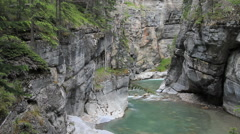 Canada Jasper NP Maligne Canyon river view c Stock Footage
