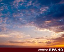Stock Illustration of abstract nature blue background with sunset and clouds