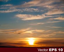 Stock Illustration of abstract nature background with sunset and clouds