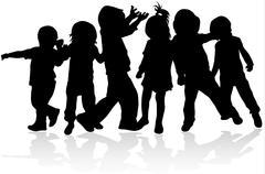 Happy children silhouettes - stock illustration