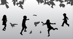 children playing outdoors - stock illustration