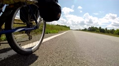 Wide Low Angle Pov Of Cyclist Bike While Riding Bicycle On Country Road Stock Footage