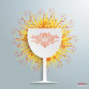 Wine glass retro swirls Stock Illustration