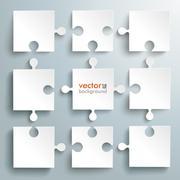 paper puzzles flowchart - stock illustration