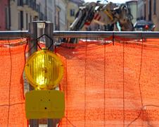 signal lamp yellow and orange network in roadworks - stock photo