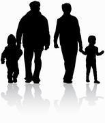 Family outdoors Stock Illustration
