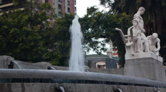 Fountain, pond in a square - stock footage