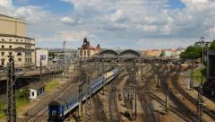 Prague train station traffic time lapse pan 11442 Stock Footage