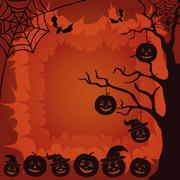 Halloween landscape, pumpkins, tree and spider - stock illustration