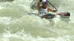 wildwater canoeing man slow motion 28 - stock footage