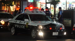 Police Cars And Officers At An Incident Outside Fussa Train Station Tokyo 4K. Stock Footage