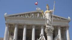 Austrian Parliament  building closeup architecture Vienna landmark sunny day  Stock Footage