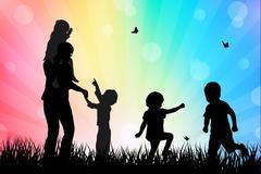 Stock Illustration of children silhouettes