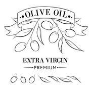 Vintage olive oil label. - stock illustration