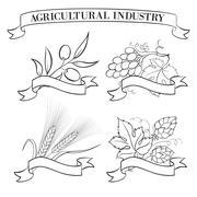 Hop emblems and labels. - stock illustration