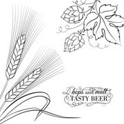 Wwheat ear and hop. - stock illustration