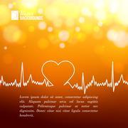 Heart shape ECG line. - stock illustration