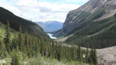 Canadian Rockies Banff U-shaped valley from Trail above Lake Louisec Stock Footage