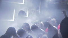 Nightclub full of people, flashing lights in dark dance hall, click for HD Stock Footage