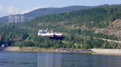 Ship lift moving down (Krasnoyarsk HPP, Russia) - stock footage