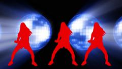 Sexy dancers animation disco balls  background Stock Footage