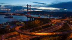Tsing ma bridge time lapse Stock Footage