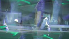 Blurred image of two sexy women dancing GoGo in nightclub, click for HD - stock footage