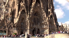 Types of Sagrada Familia church. Nativity (East side) facade. Stock Footage