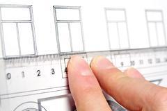 measurements windows on house - stock photo