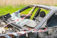 Details of a car an accident Stock Photos