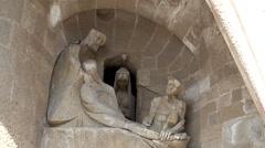 Types of Sagrada Familia church. Passion (Western side) facade. Stock Footage