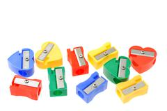 Colorful pencil sharpeners Stock Photos
