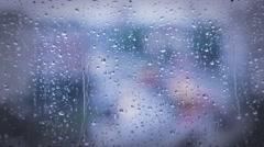 Rainy days,rain drops on the window Stock Footage