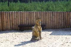 Wooden horse statue by palisades Stock Photos