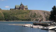 Canada Alberta Prince of Wales Hotel & boat docks Stock Footage