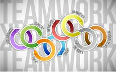 teamwork keywords cycle illustration - stock illustration