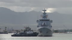 The Royal Brunei Navy arrive in Pearl Harbor Stock Footage