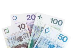 set of polish zloty new banknotes - stock photo