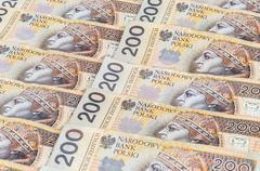 banknotes of 200 pln - polish zloty - stock photo