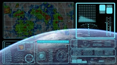 Navigation screen display on unidentified planet with radar sound effect Stock Footage