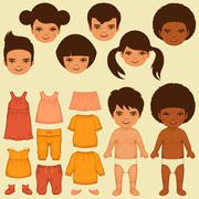 child paper doll - stock illustration