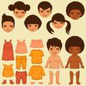 Stock Illustration of child paper doll