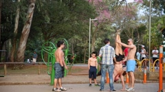 Group of man working out at Ibirapuera Park Stock Footage