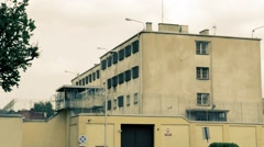 Outside the prison building in Poland Stock Footage