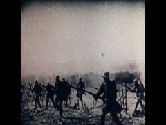 WW1 Soldiers Run Over Battlefield Kavallery Rides Stock Footage
