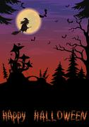Halloween landscape with witch - stock illustration